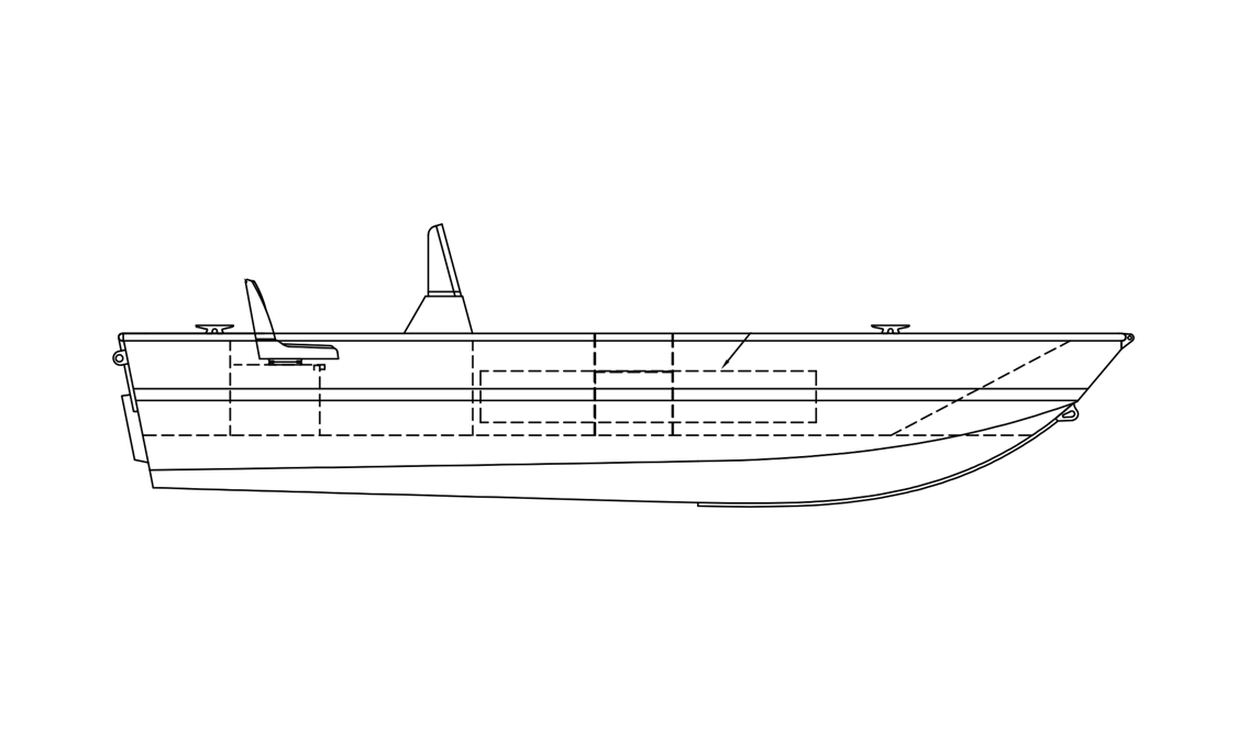 a black and white rendering of a Stanley Predator boat sold by Gordon Bay Marine.