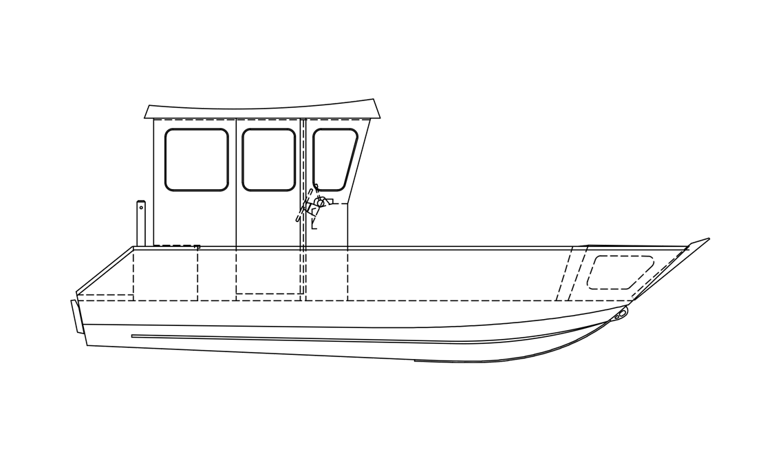 a black and white rendering of a Stanley Pulsecraft boat sold at Gordon Bay Marine.
