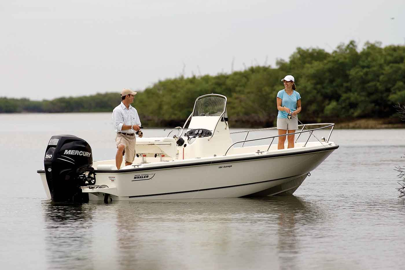 a boston whaler 190 outrage fishing boat with a Toronto couple fishing in Gordon Bay.