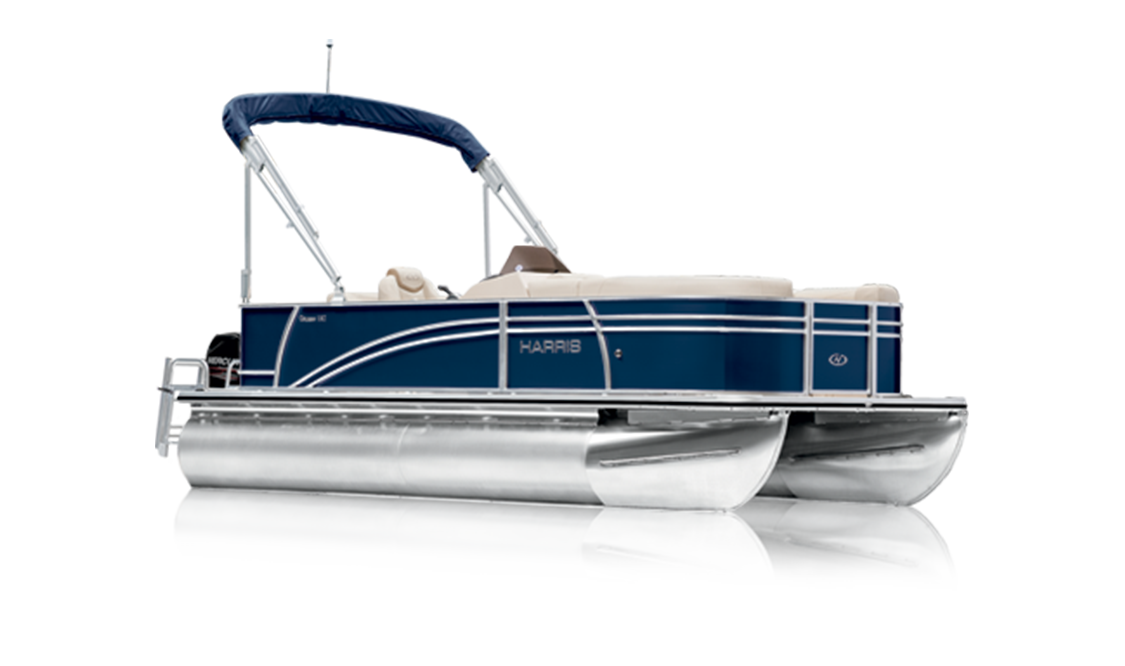 a rendering of a Harris pontoon boat - a cruiser for Gordon Bay Marine.