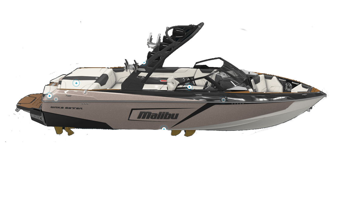 a rendering of the Malibu 23 LSV wakeboat sold at Gordon Bay Marine in Muskoka Ontario