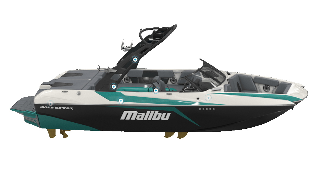 a malibu MLX wakeboat sold at Gordon Bay Marine in Muskoka Ontario