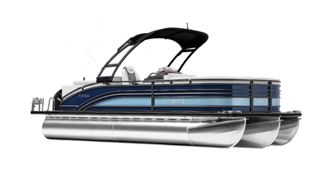 a rendering of a pontoon boat named Solstice by Harris FLOTE BOTE.