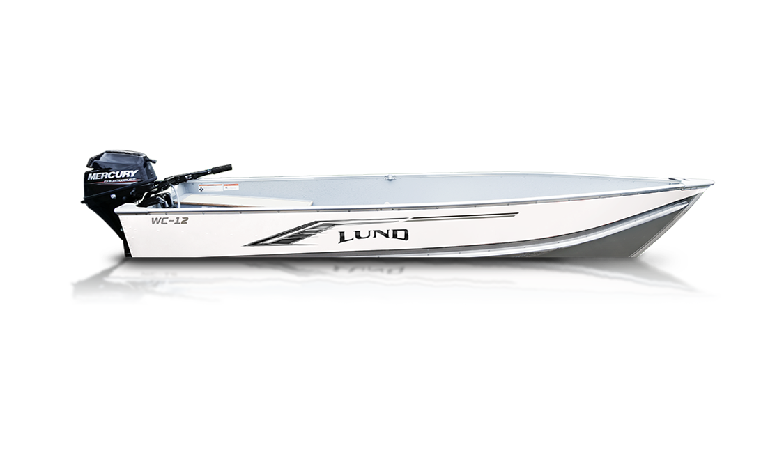A Lund WC 12 fishboat sold at Gordon Bay Marine at Muskoka, Ontario.