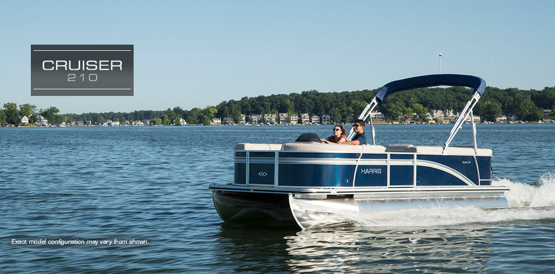 a Harris pontoon boat cruiser 210 on Gordon Bay water in Muskoka Ontario.