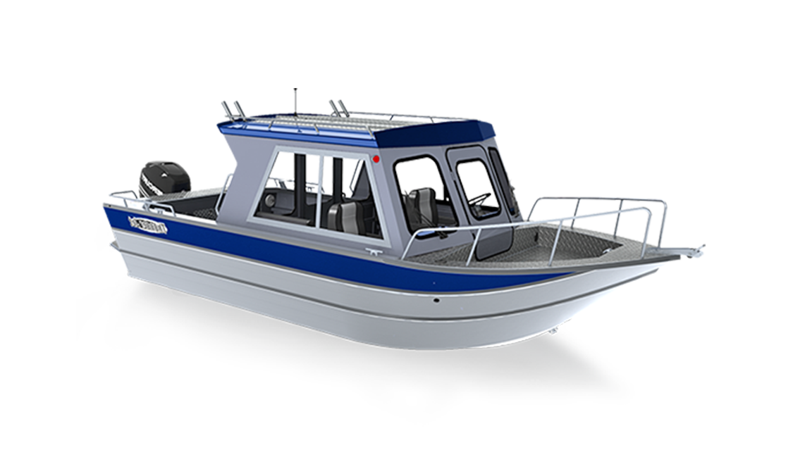 a rendering of a kenai crossover boat by Thunder Jet sold at Gordon Bay Marine