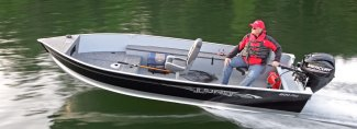 a Muskoka fisher headed to his spot on a lund aluminum boat 1600 fury ss
