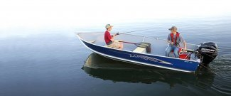 lund wc 16 aluminum fishing boat with young teens fishing on Gordon Bay lake water.