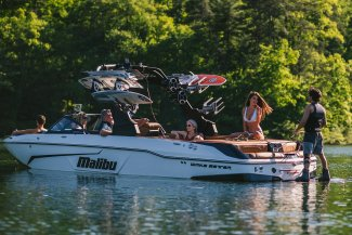 a 25 lsv malibut boat with a few good friends having fun on the water