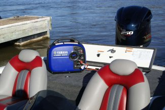 a yamaha inverter EF2000ISX sits atop a boat